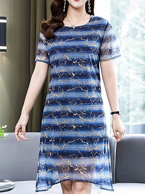 Round Neck Chiffon Striped Print Shift Dress, 27484169, BERRYLOOK  - buy with discount