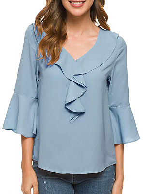 V-neck pleated bell sleeve chiffon blouse, 11302023