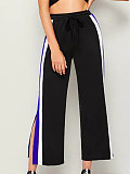 Image of Fashion casual stitching contrast color casual wide-leg pants