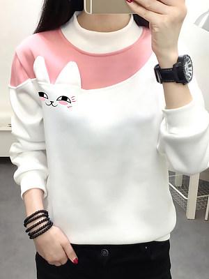 Fashion Colorblock Stand Collar Sweater, 11352628