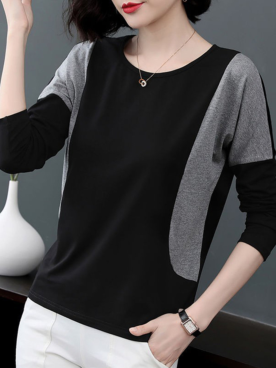 Round Neck Patchwork Casual Color Block  Long Sleeve T-Shirt - from $13.95