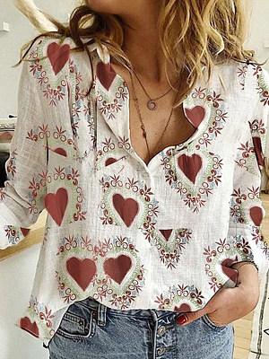 Turn Down Collar Print Long Sleeve Blouse, 24097693