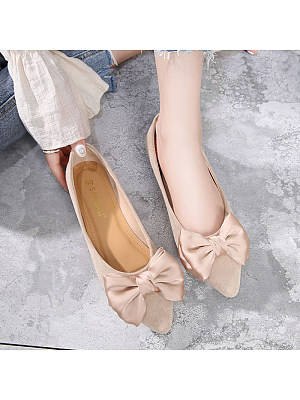 Elegant Women Bow Solid Color Comfortable Flats, 11052636