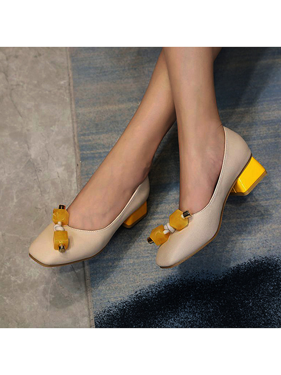 Fashionable low-heeled square-toe thick-heeled shoes