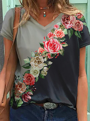 Casual Floral Print Colorblock V-neck T-shirt, 27531569, BERRYLOOK  - buy with discount