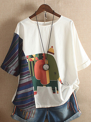 Round Neck Printed Short Sleeve T-shirt, 11317310