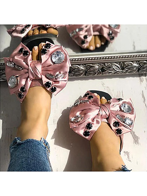 Rhinestone bow flat slip slippers, 11303717