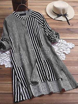 Band Collar Striped Long Sleeve Blouse, 24536947