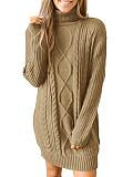 Image of High Collar Plain Long Sleeve Knit Dress