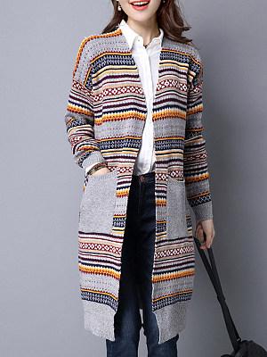 Elegant Striped Long Sleeve Knit Cardigan, 10150608