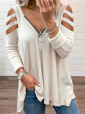 Women Casual Cold Shoulder LongSleeve T-shirt