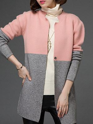 Patchwork Color Block Long Sleeve Cardigan sweater, 10308108