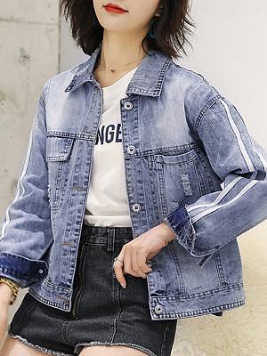 Trendy Fold Collar Colorblock Jacket, 11397905