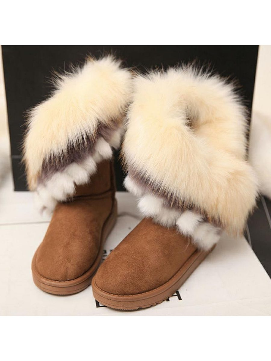 Fashion Women Fur Thicken Warm Boots