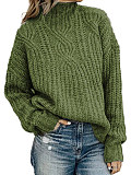 Image of High Collar Plain Long Sleeve Knit Pullover