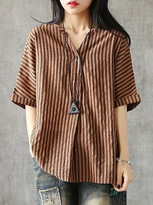 V Neck Striped Short Sleeve Linen Blouse, 11458961