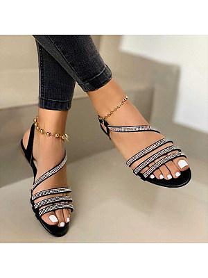 Women's flat bottom cutout rhinestone sandals, 24117098