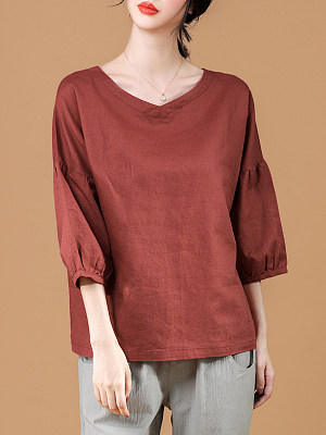 V Neck Plain Three-quarter Sleeve Linen T-shirt, 11567662