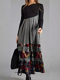 Image of Casual Color Block Tunic Oblique Neckline A-line Dress
