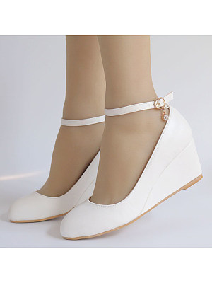 Round Toe Buckle Wedge Shoes фото