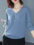 Image of V Neck Plain Buttons Long Sleeve Knit Pullover