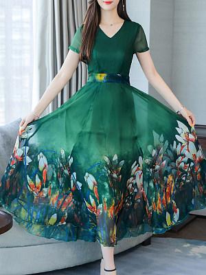 V-Neck Floral Printed Maxi Dress, 11327331