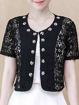 See-Through Floral Beading Short Sleeve Cardigan, 11334076