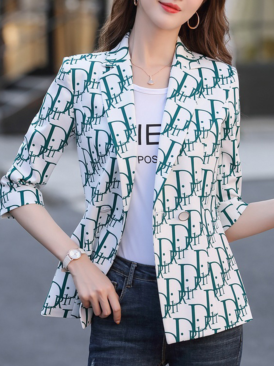 Stylish printed fold-over collar Blazer
