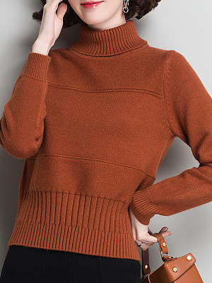Heap Collar Elegant Plain Long Sleeve Knit Pullover, 10653622