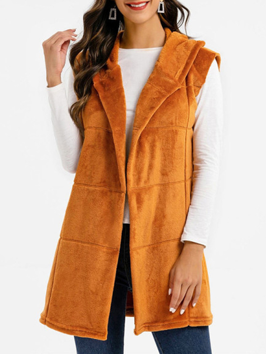 Casual Hooded Pure Color Vest