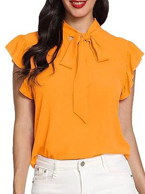 Tie Collar Plain Short Sleeve Blouse, 11420969