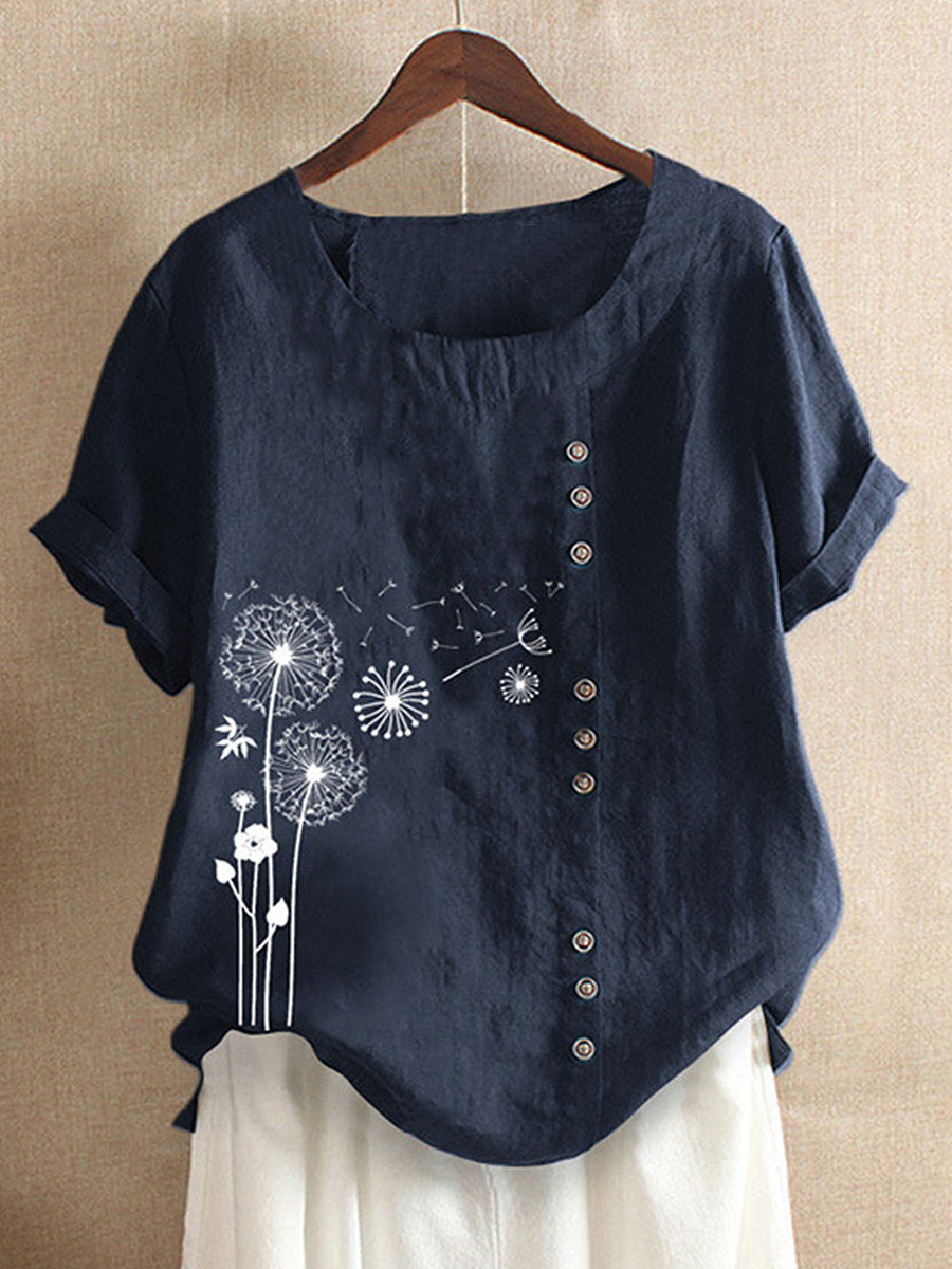 BerryLook Round Neck Print Short Sleeve Linen T-shirt