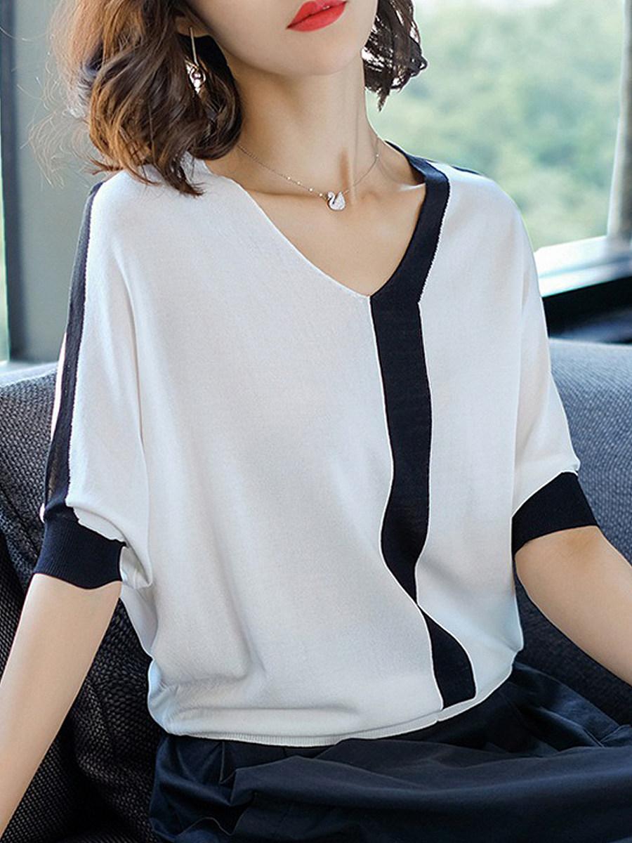 V Neck Striped Short Sleeve Knit Pullover