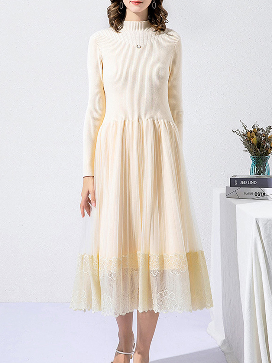 Knit Solid Color Round Neck Long Sleeve Dress