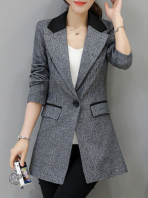 Fashion womens lapel long sleeve spell color blazer gender:female, colour:gray, season:autumn,spring, collar:lapel collar, texture:polyester, sleeve_length:long sleeve, sleeve_type:regular sleeve, style:japan and south korea, dress_occasion:daily, bust:92-94,clothing length:76,shoulder width:39,sleeve length:61,