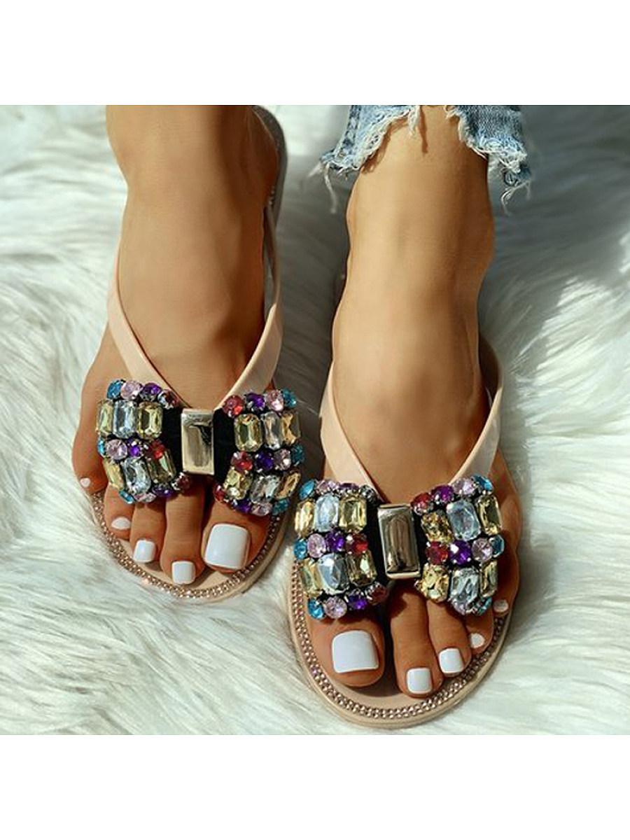 BerryLook Women's casual wild diamond flat bottom wear-resistant non-slip slippers