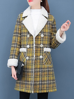 Women's velvet padded long-sleeved plaid coat gender:female, season:autumn,winter,spring, texture:woolen, pattern_type:grid pattern, sleeve_length:long sleeve, style:japan and south korea, collar_type:fold collar, dress_occasion:daily, bust:105,clothing length:90,shoulder width:41,