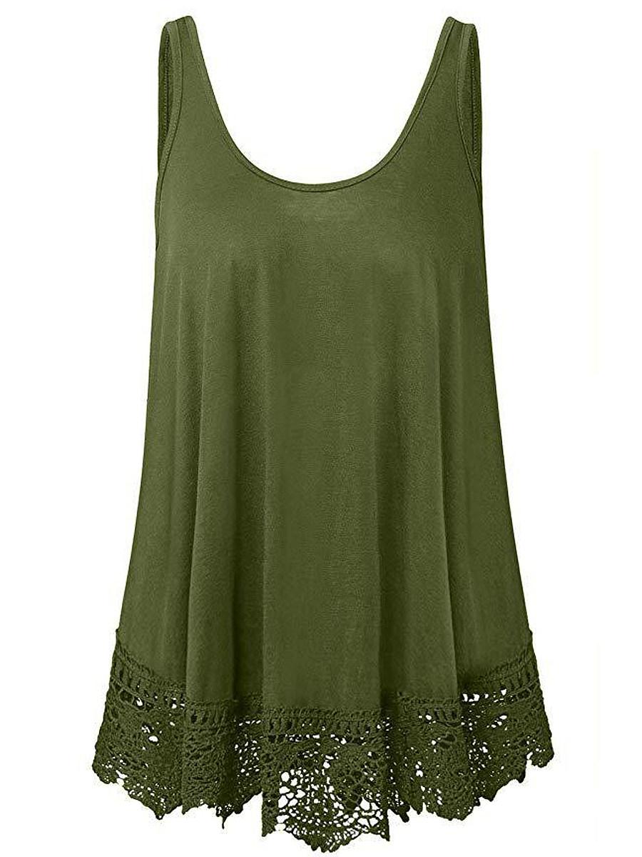 BerryLook Round Neck Patchwork Lace Sleeveless T-shirt