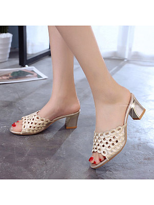 fashion slippers hollow high-heeled thick with fish mouth non-slip breathable sandals