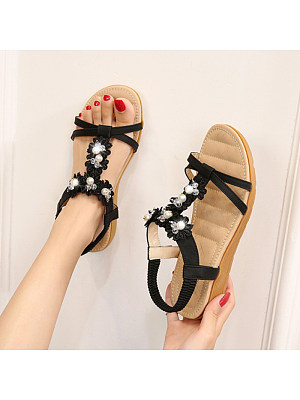 Berrylook Women Flower Casual Elastic Band Flat Sandals sale, shoping,