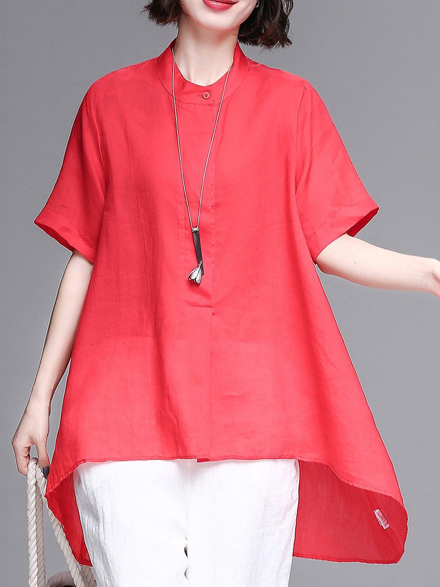 Band Collar Plain Loose Fitting Short Sleeve Linen Blouse