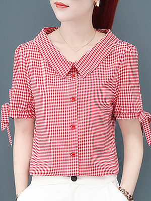 Turn Down Collar Plaid Short Sleeve Blouse, 11223477
