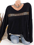 V Neck Patchwork Lace Long Sleeve T-Shirt