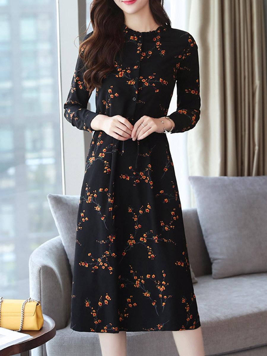 BerryLook Vintage Floral Long Sleeve Maxi Dress