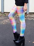 Image of Fashion color check gradient print leggings