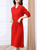 Image of Solid Color Knitted Dress With Waistband