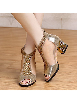 Women's Sexy Pure Color Mesh Rhinestone Heels