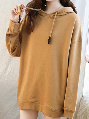 Women's Fashion Hooded Solid Color Loose Sweatshirt, 10715572