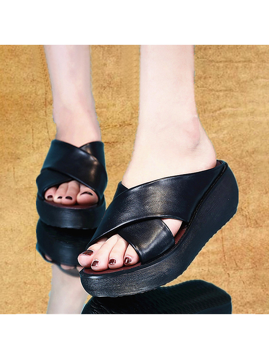 BerryLook Fish Mouth Thick Bottom Retro Women's Sandals