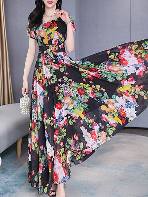 Fashion Waist Short Sleeve Print Maxi Dress фото